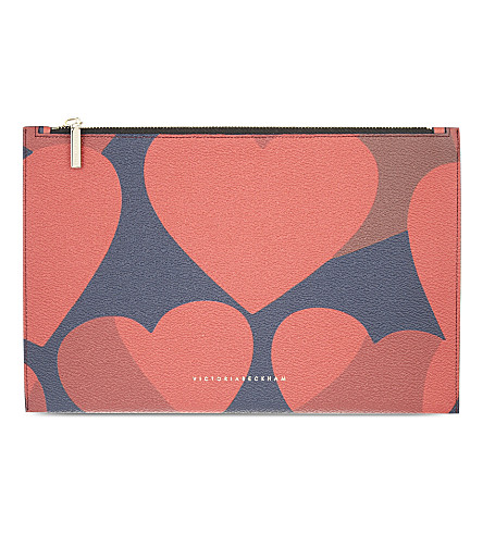 VICTORIA BECKHAM Small leather pouch (Red hearts