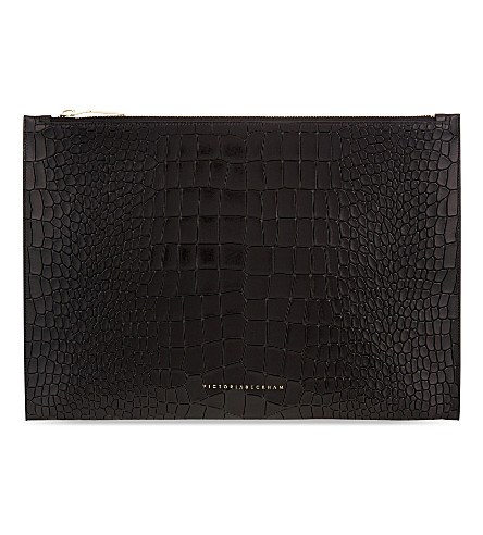 VICTORIA BECKHAM Large leather pouch (Black