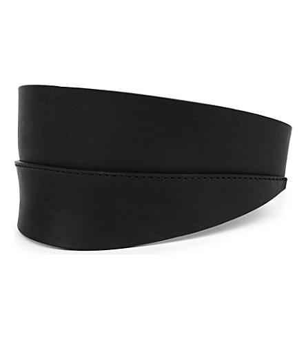RICK OWENS Leather visor (Black