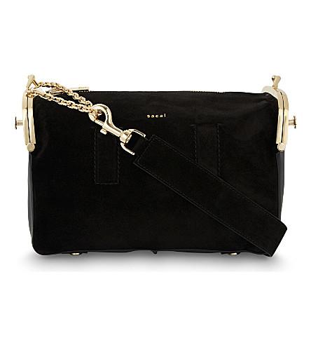 SACAI Hybrid suede shoulder bag (Black