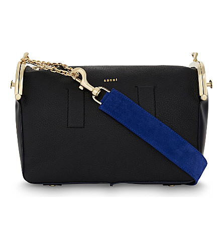 SACAI Hybrid leather shoulder bag (Black+navy
