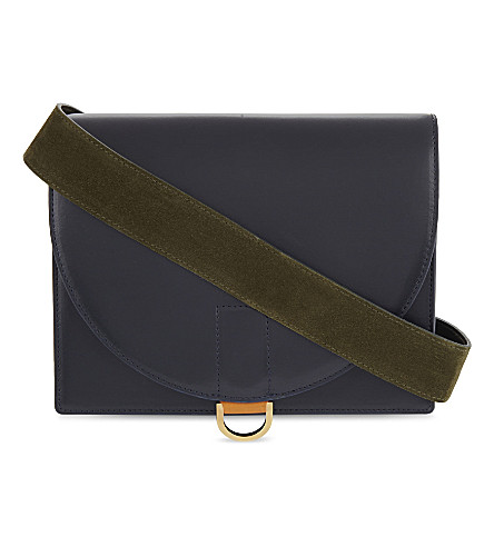 SACAI Branded leather cross-body bag (Navy