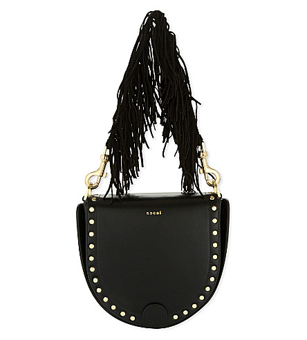 SACAI Horseshoe leather tasselled bag (Black
