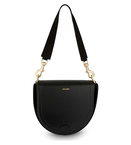SACAI Horseshoe leather bag (Black