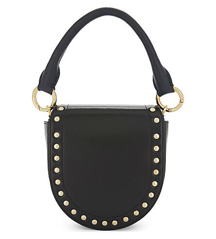 SACAI Horse shoe leather coin purse (Black+navy