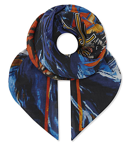 BALMAIN Tiger cotton and silk-blend bandana (Multicolor