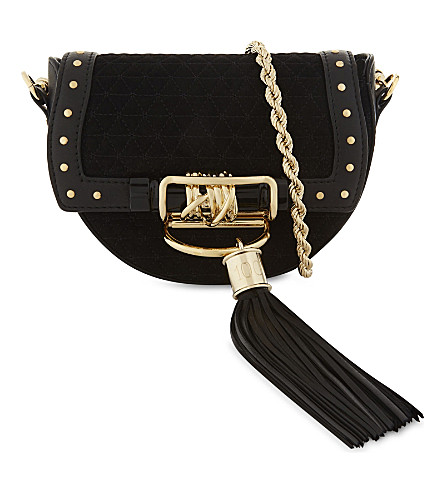 BALMAIN Suede and leather cross-body bag (Noir+malachite