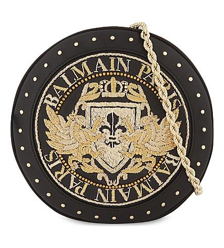 BALMAIN 美化文艺复兴迪斯科挎皮革袋 (黑色