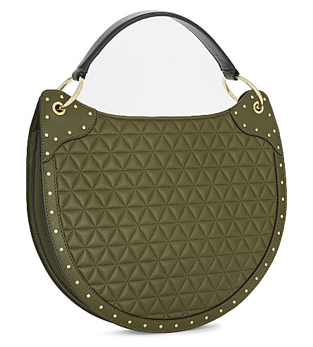 BALMAIN Quilted Leather Shoulder Bag in Khaki