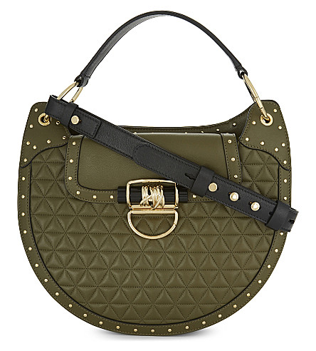 BALMAIN Quilted leather shoulder bag (Khaki