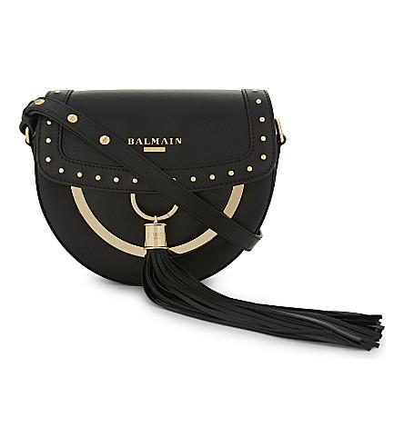 BALMAIN Domaine leather cross-body bag (Noir