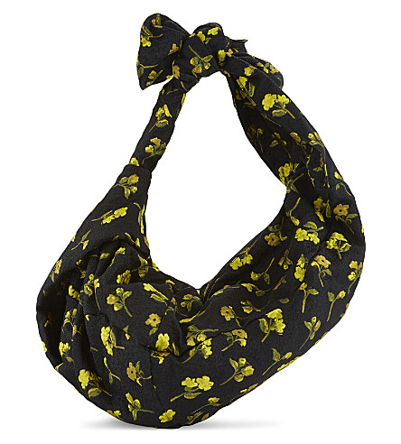 SIMONE ROCHA Cloqué flower print hobo (Black+yellow