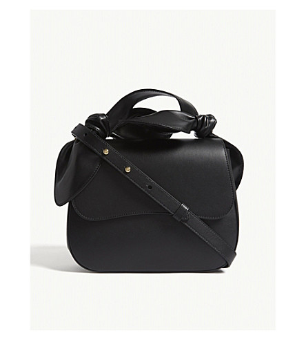 SIMONE ROCHA Double bow leather shoulder bag (Black