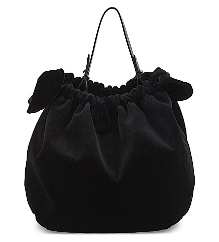 SIMONE ROCHA Double bow velvet shoulder bag (Black