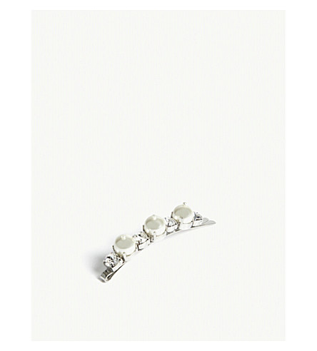 SIMONE ROCHA Faux-pearl and crystal-embellished hair clip (Pearl