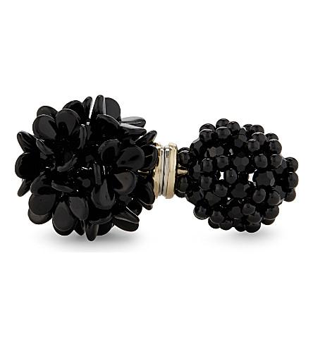 SIMONE ROCHA Double floral crystal bead earring (Jet