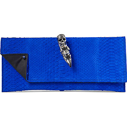 MAISON DU POSH Skull ring python clutch (Blue