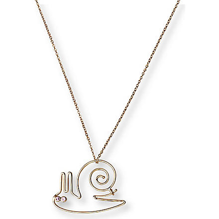 HILLIER Snail 18-karat gold necklace (Gold/pink