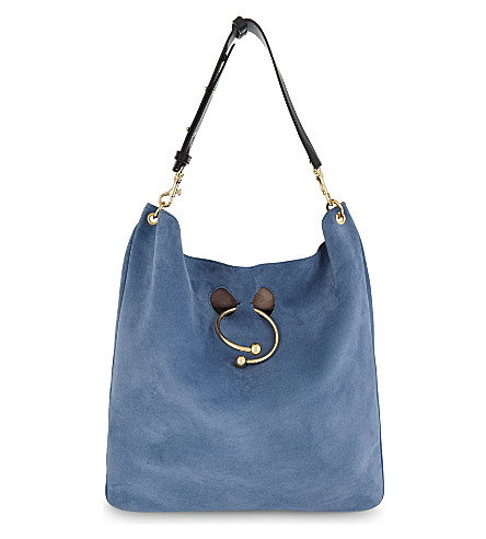 JW ANDERSON Pierce large suede hobo (Bluebird