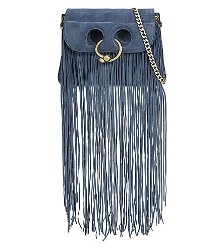JW ANDERSON Pierce mini suede cross-body bag (Bluebird