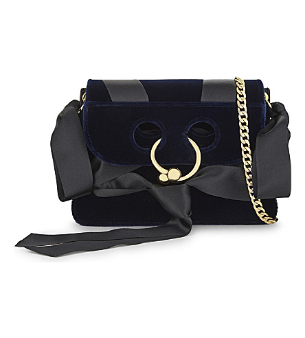 JW ANDERSON Pierce leather and velvet cross-body bag (Midnight+blue