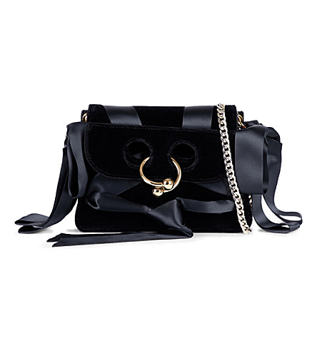 JW ANDERSON Pierce ribbon-detail velvet mini shoulder bag (Black