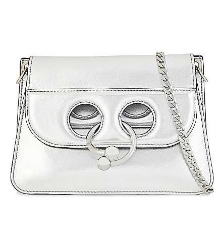 JW ANDERSON Pierce metallic leather cross-body bag (Silver