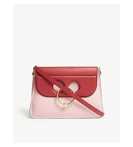 JW ANDERSON Pierce medium bi-colour leather shoulder bag (Crimson+pink
