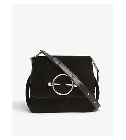 JW ANDERSON Suede and leather cross-body bag (Black