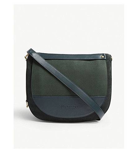 JW ANDERSON Moon suede and leather shoulder bag (Forest+green