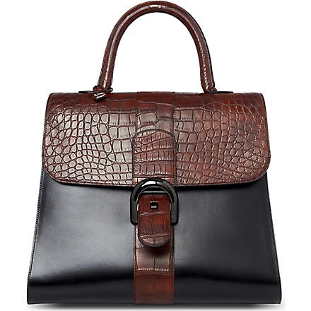 DELVAUX Brillant alligator-trimmed extra large tote (Noir/caf?