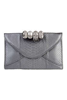 MAISON DU POSH Knuckle large python leather clutch