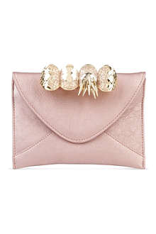 MAISON DU POSH Knuckle small leather clutch
