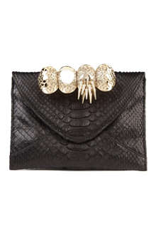 MAISON DU POSH Knuckle small python clutch