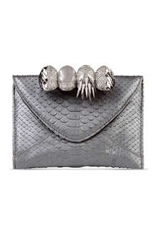 MAISON DU POSH Knuckle small python leather clutch