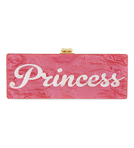 EDIE PARKER Flavia Princess box clutch (Hot+pink+w+white+pearl