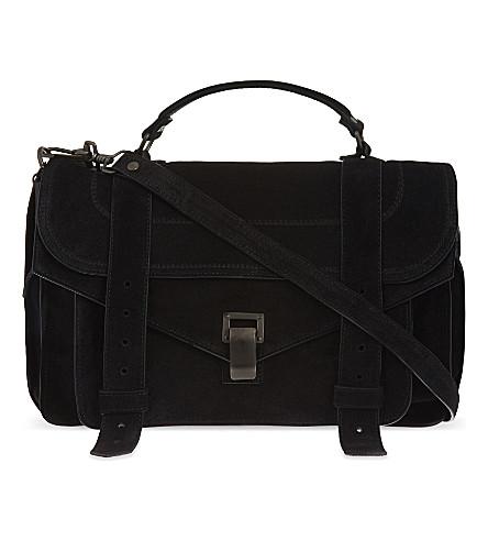 PROENZA SCHOULER PS1 medium suede satchel (Black