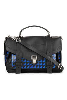 PROENZA SCHOULER PS1 medium chevron-print leather satchel