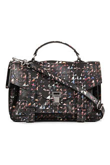 PROENZA SCHOULER PS1 Triangle-Print Faces medium satchel
