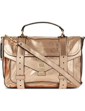 PROENZA SCHOULER PS1 medium metallic leather satchel