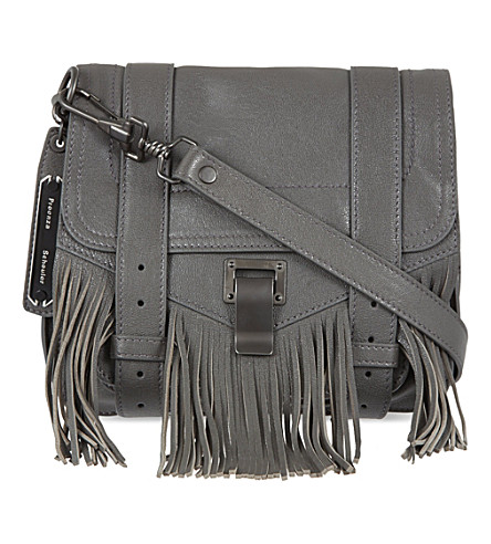 PROENZA SCHOULER Leather fringed satchel (London grey