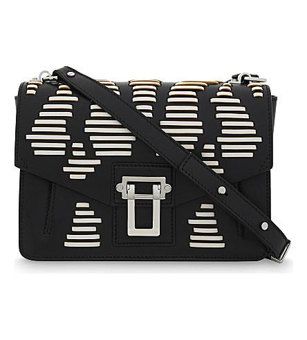PROENZA SCHOULER Hava laced leather shoulder bag (Black+white