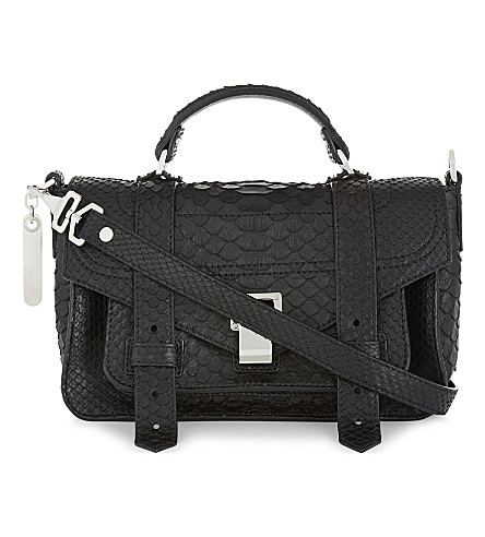 PROENZA SCHOULER PS1 Plus Tiny matte python-skin shoulder bag (Black
