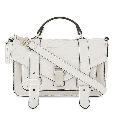 Proenza Schouler Ps1 Plus Tiny Matte Python-Skin Shoulder Bag In White e1c3446f5b
