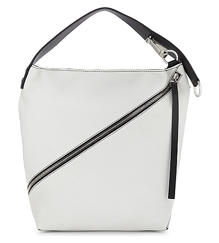 PROENZA SCHOULER Medium grained leather hobo (Optic+white