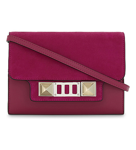 PROENZA SCHOULER PS11 leather and suede wallet-on-chain (Peony
