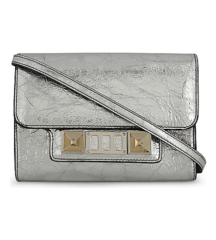 PROENZA SCHOULER PS11 metallic leather wallet-on-chain (Silver