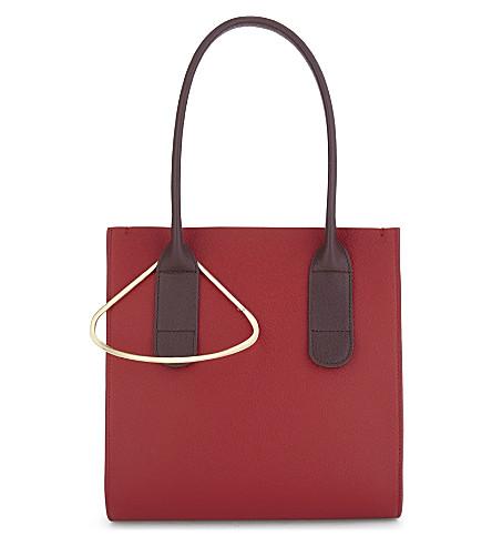 ROKSANDA Grained leather mini weekend tote bag (Rouge+chestnut