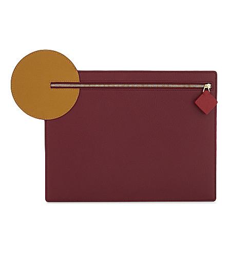 ROKSANDA Aplin pebbled leather clutch (Cherry+honey