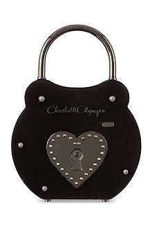 CHARLOTTE OLYMPIA Padlock suede clutch
